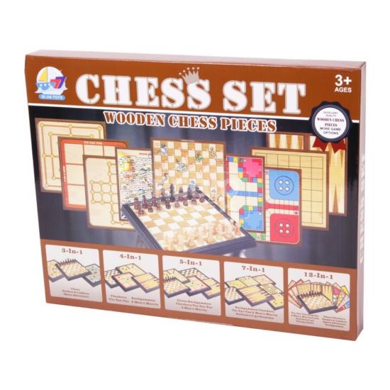 5 az 1-ben - Fa sakk és társasjáték készlet